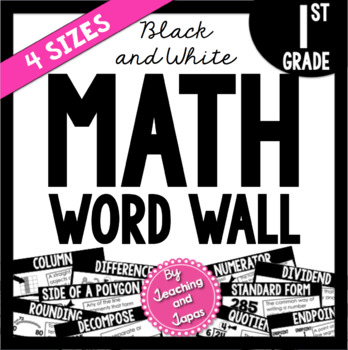 Math Word Wall *BLACK AND WHITE* (1st Grade)
