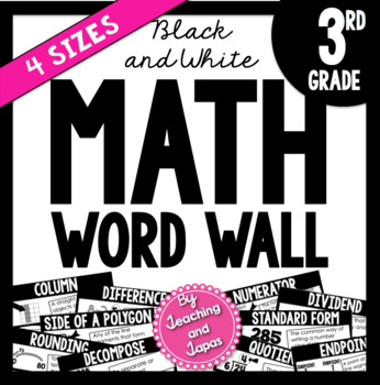 Math Word Wall *BLACK AND WHITE* (3rd Grade)