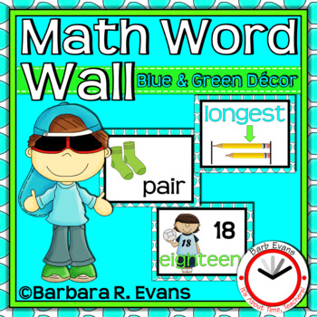 MATH WORD WALL: Blue & Green Edition