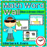 MATH WORD WALL Blue Green Theme Math Vocabulary Focus Wall Classroom Decor