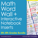 Math Word Wall for Grades 5-8