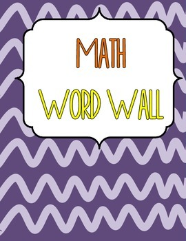 Junior Math Word Wall - Canadian Version
