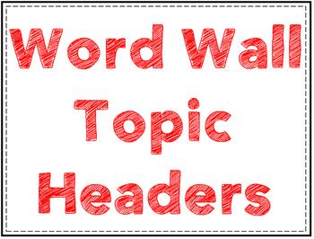 Math Word Wall Card Headers