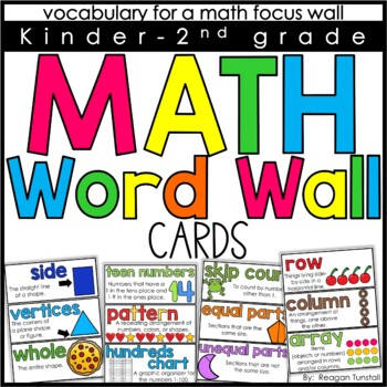 Math Word Wall Cards K-2nd