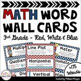 Math Word Wall 3rd Grade - Editable - Red, White & Blue (Nautical/Patriotic)