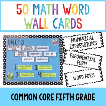 Math Word Wall Cards- Common Core Fifth Grade