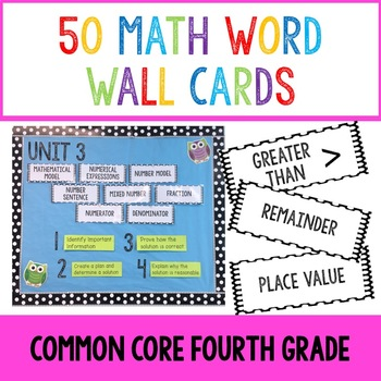 Math Word Wall Cards- Common Core Fourth Grade