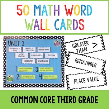 Math Word Wall Cards- Common Core Third Grade