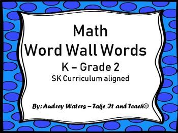 Math Word Wall Cards K- Grade 2