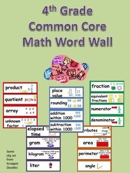 Math Word Wall Cards for Fourth Grade- Common Core Standards by Jane ...