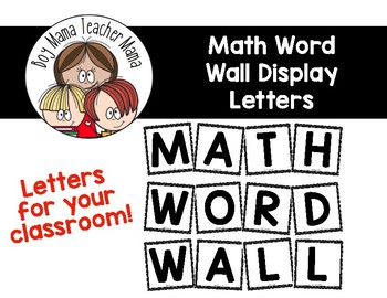 Math Word Wall Display Letters