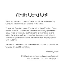 Math Word Wall: Freebie