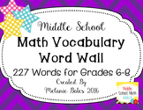 Math Vocabulary Word Wall Grades 6th-8th {back to school}