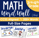Math Word Wall {Grades 3-4} FULL SIZE PAGES