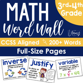 Math Word Wall Grades 3-4 FULL SIZE PAGES