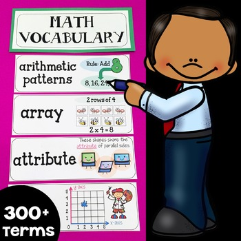 Illustrated Math Word Wall Display Cards (300+ Math Vocabulary Terms)