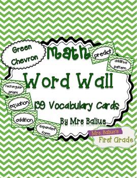 Math Word Wall {Green Chevron} 139 Vocabulary Words