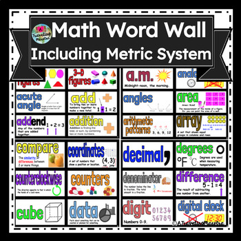 Math Word Wall - Includes Metric System Words