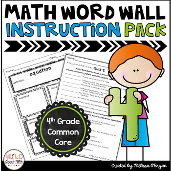 Math Word Wall Vocabulary Instruction Packet - 4th Grade