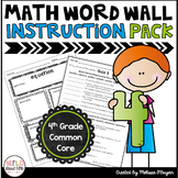 Math Vocabulary Instruction Pack and Quizzes 4th Grade
