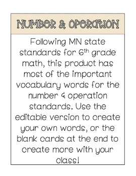 Math Word Wall - Number and Operation