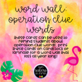 Math Word Wall: Operation Clue Word TROPICAL THEME