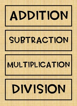 Math Word Wall: Operation Clue Words BURLAP DESIGN