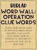 Math Word Wall: Operation Clue Words BURLAP DESIGN