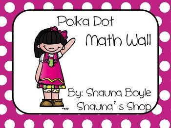 Math Word Wall Polka Dots