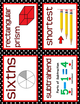 MATH WORD WALL: Math vocabulary, focus wall, CCSS vocabulary, Red black decor