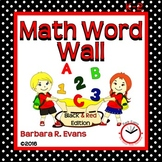 MATH WORD WALL Math Vocabulary Focus Wall Red Black Theme Classroom Decor