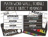 Math Word Wall, Schedule Cards & Subject Headings