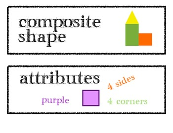 Math Word Wall Vocabulary Cards - Common Core aligned for K-3
