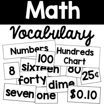 Math Word Wall & Vocabulary Signs
