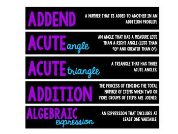 Math Word Wall Vocabulary (Upper Elementary)