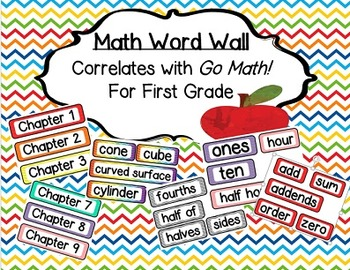 Math Word Wall Vocabulary Words-Common Core First Grade Go Math!