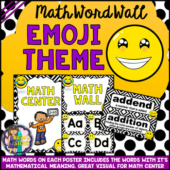 Math Vocabulary Cards A to Z (Math Word Wall) Emoji Classroom Theme