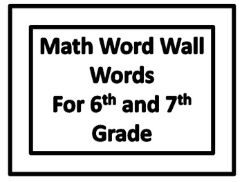 Math Word Wall Words In Plain Border