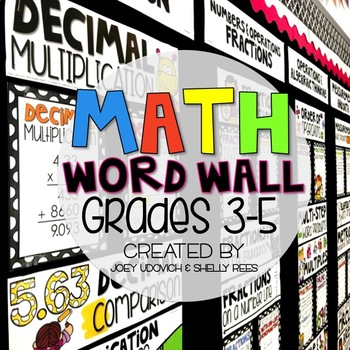 Math Word Wall for 3rd, 4th, and 5th Grade