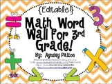 {EDITABLE!} Math Word Wall for 3rd Grade