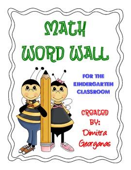 Math Word Wall for the Kindergarten Classroom