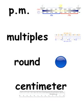 Math Word Wall with Visual Support