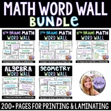 Math Word Walls - Grade 6, 7, 8, Algebra, and Geometry Bundle