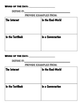 Math Word of the Day - Graphic Organizer
