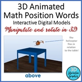 Math Position Words Interactive Digital 3D Models for Whiteboard and Smartboard