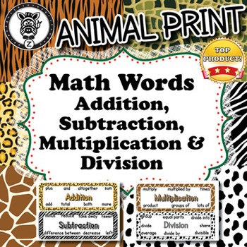 Math Words - Animal Print - ZisforZebra
