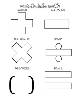 Math Words Graphic Organizer & Activity