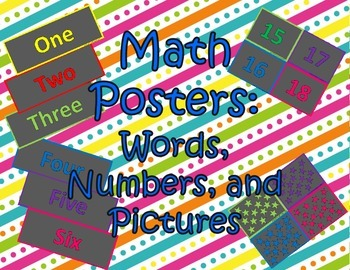 Math Words, Numbers, and Pictures Classroom Signs Black Background