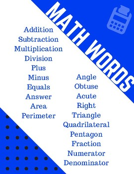 Math Words Poster
