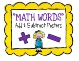 """Math """"Words"""" Posters for Addition & Subtraction [FREEBIE!]"""